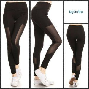 Leggings with Mesh Panel and Thick Waistband